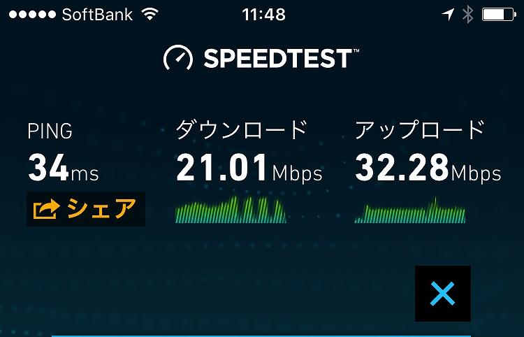 SoftbankAir(ソフトバンクエアー)スピードテストしてみた結果